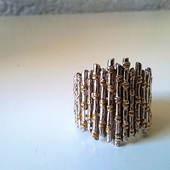 Big Sterling Silver/Gold Vermeil Bamboo Design Ring Flea Market Find 50 Cents - Fine Jewelry