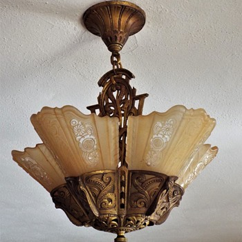 Consolidated Art Deco Slip Shade Chandelier - Art Deco