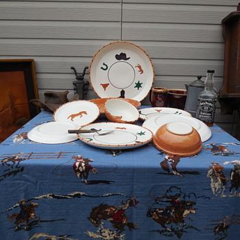 Vintage Gaetano Pottery California Western Pattern Tableware - Mid-Century Modern