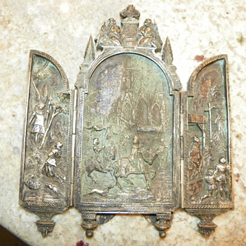 Joan of Arc religious triptych found at an Estate sale. - Silver
