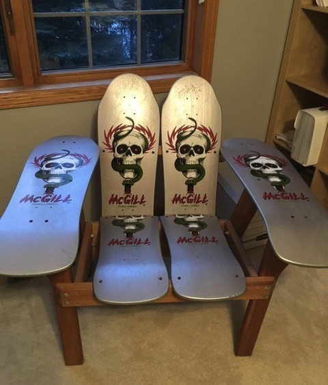 & Retro skateboard chair - Tony Hawk autograph | Collectors Weekly