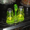 Vaseline Glass Salt and Pepper Set with Caddy