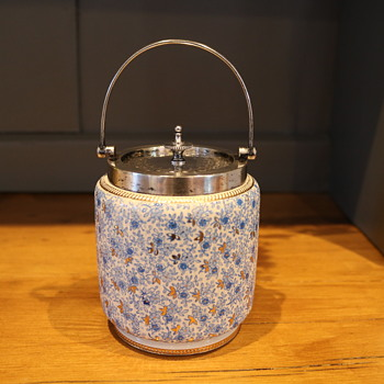Small Tea Caddy /Storage Jar Silver Plate Lid and Rim - Pottery