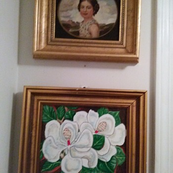 TWO PRETTY OIL PAINTINGS  - Folk Art