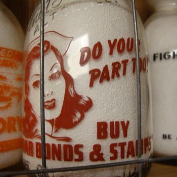 WALNUT GROVE DAIRY...ALTON ILLINOIS CREAM TOP WAR SLOGAN MILK BOTTLE - Bottles