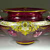 Josephinenhütte enameled glass bowl with applied handles and prunts, ca. 1900