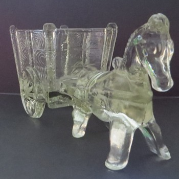 Glass Horse and Cart Planter - Haley Glass Co? - Glassware
