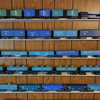 Marx Trains Blue Postwar Freight Cars - Model Trains