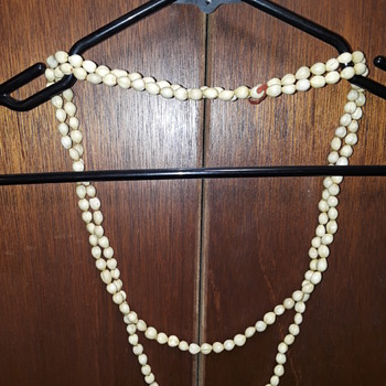 costume jewelry #5, whitish organic (?) beads - Costume Jewelry