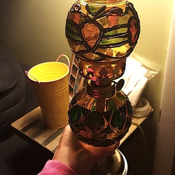 antique stained glass kerosene lamp