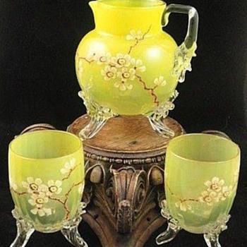 ANTIQUE VICTORIAN BOHEMIAN LOETZ HAND PAINTED DEK III / 163 ART GLASS SET - Art Glass