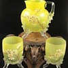 ANTIQUE VICTORIAN BOHEMIAN LOETZ HAND PAINTED DEK III / 163 ART GLASS SET