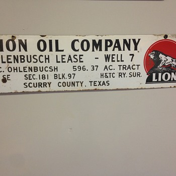 """Lion Oil Company"" porcelain oil field sign 42"" x 18"" - Signs"