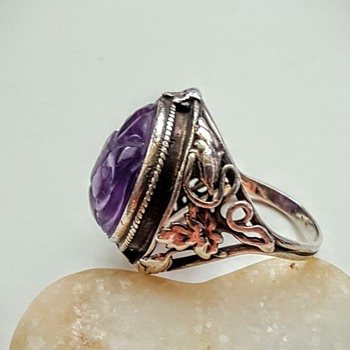 ARTS AND CRAFTS sterling double shank ring Chinese carved amethyst. Part 1.  - Fine Jewelry