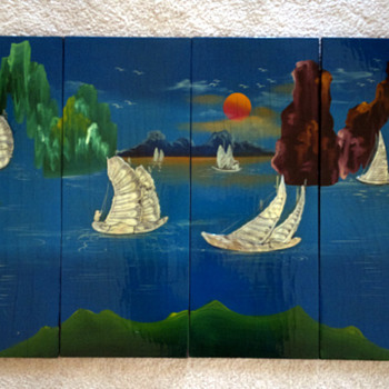 hand painted Mother Of Pearl  Asian Wood Panels  - Asian