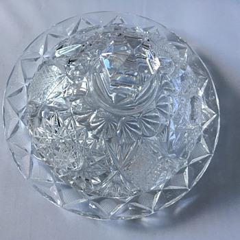 Cut glass butter dish  - Glassware