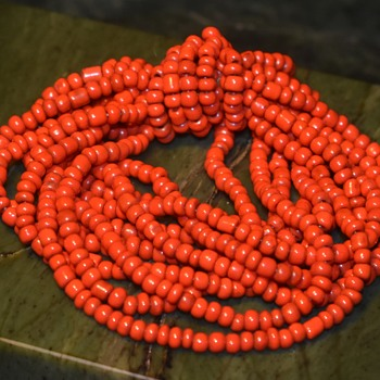 Coral or Glass Beads - bracelet, i think. - Costume Jewelry