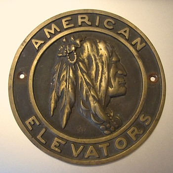 American Elevators bronze plate, INDIAN - Advertising