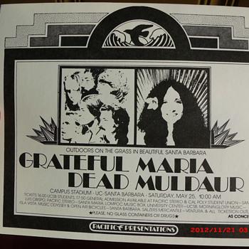 1974 Grateful Dead & Maria Muldaur concert handbill from UC Santa Barbara Campus Stadium