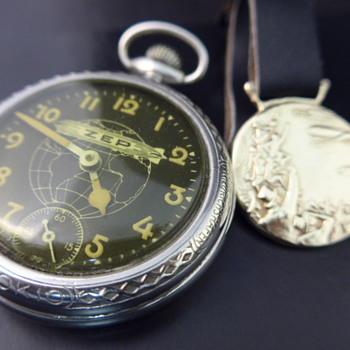 1929 Zep pocket watch & watch fob