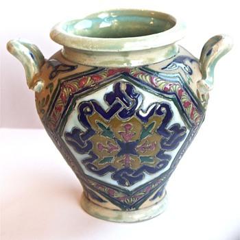 Enamel Painted Vase - Amphora? - Pottery