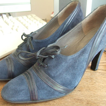 Charles Jourdan navy suede brogue heels