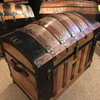 1880's lithographed brass plated antique saratoga trunk