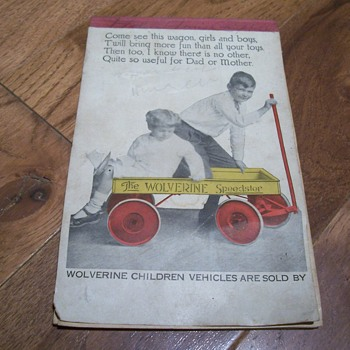 vintage wolverine wagon promotional notepad - Advertising