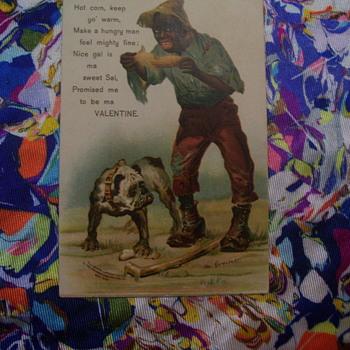 ODDEST VALENTINE POSTCARD EVER! c.1906 Mailed in 1909, Signed art Greiner - Cards