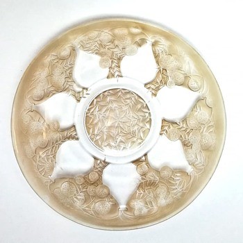 "large rene lalique plate "" vases"" - Art Glass"