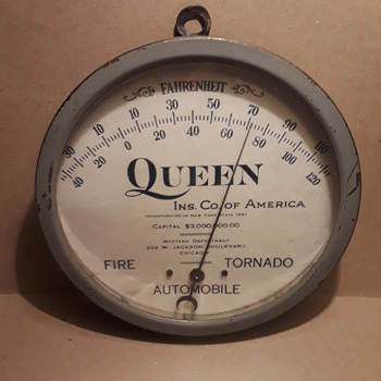 QUEEN INSURANCE dial thermometer - Advertising