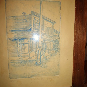 """Rustic Inn""  Jack London's favorite Saloon! Glen Ellen Ca. Etching made 1977 burned down about 1975 or so."