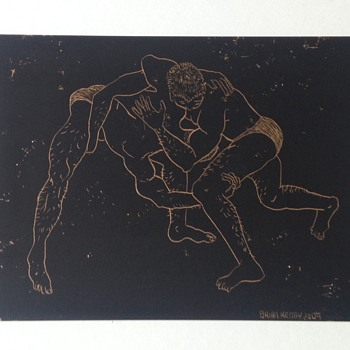 Brian Kenny etching on foil - Wrestlers