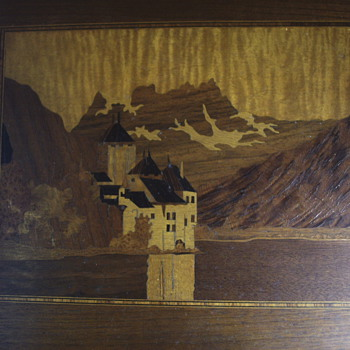 "Genuine Inlaid""Lake Geneva""Castle de Chillon""1900 - Fine Art"