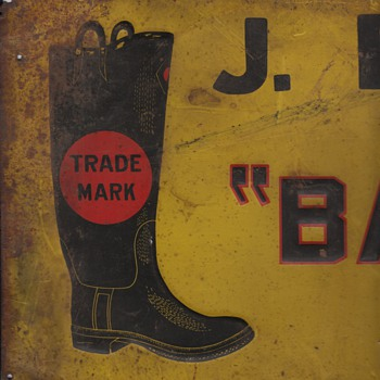 Original Tin Sign Ball Band Rubber Boots Mishawaka Rubber Overshoes Galoshes Collection Jim Linderman - Shoes