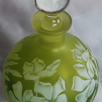 Alisdair Gordon - Lime Green Cameo Perfume Bottle - Art Glass