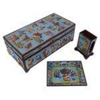 Cloisonné Smoking Set (Humidor, ash tray & matchbox holder)