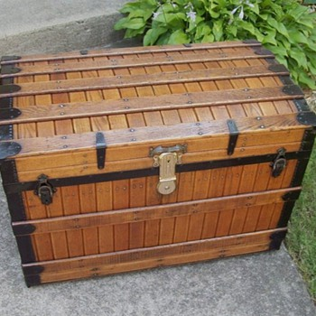 Antique Excelsior Slat Trunk - Furniture
