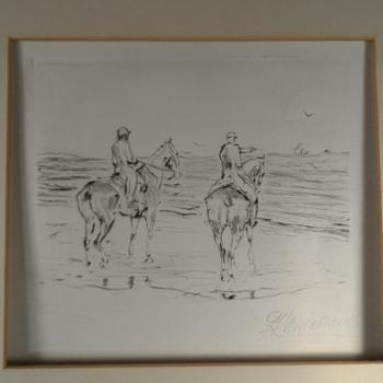 Etching, Polo ponies, Ocean, Riviera? Karl Mauser - Fine Art