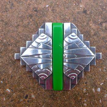 1930s French Modernist Chromed Green Bakelite Pin - Art Deco