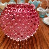 Cranberry hobnail rose bowl