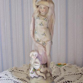 Lady & Cherub Statue - Pottery
