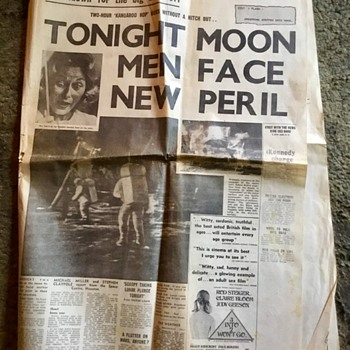 Moon landing newspapers Monday July 21st 1969. - Paper