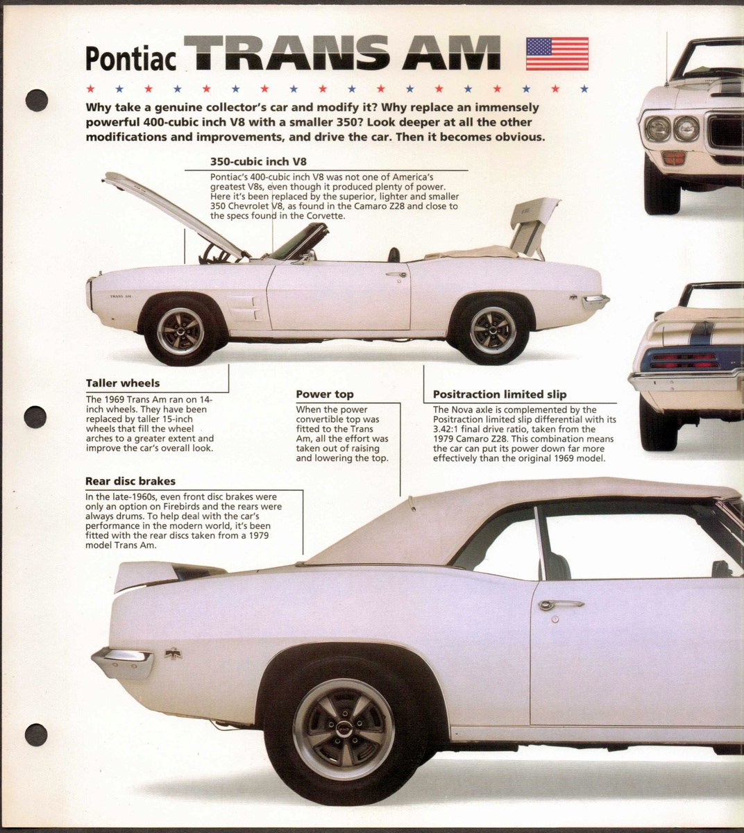 Hot Cars Card Pontiac Trans Am Collectors Weekly 1998 Specs