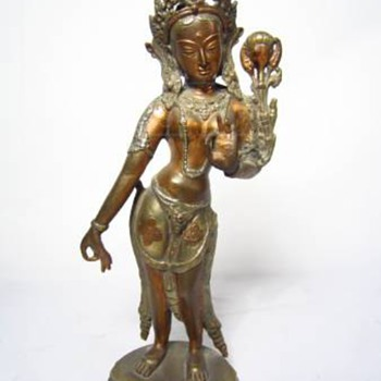 India Diety Goddess and Buddha head  bronze What is name of Goddess?