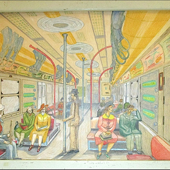 Folk Art Drawing of a New York City Subway Car by Frank DeSio 1958 - Fine Art