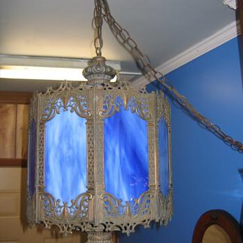 Antique Blue Slag Hanging Lamp