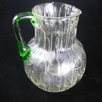 Loetz Clear Crystal Neptun Jug with Green Handle.