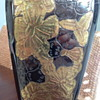 hand etched & painted lucite  & porcelain covered brass 1930's lamp