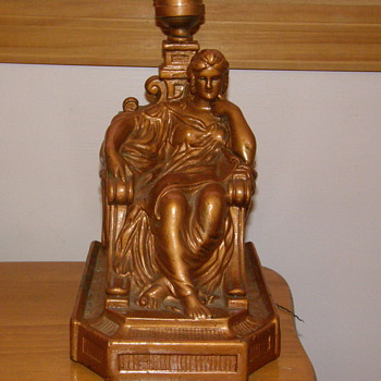 Antique Bronze Queen on Throne Table Night Light